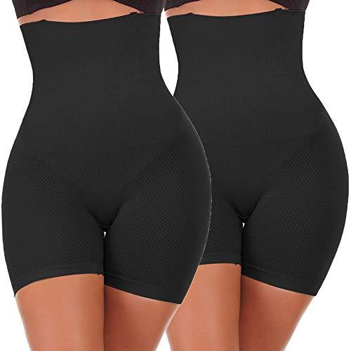 NINGMI Femme Panties Culotte Taille Haute Gainante Minceur Ventre Plat Efficace sous-vêtements, 2 Noir, S