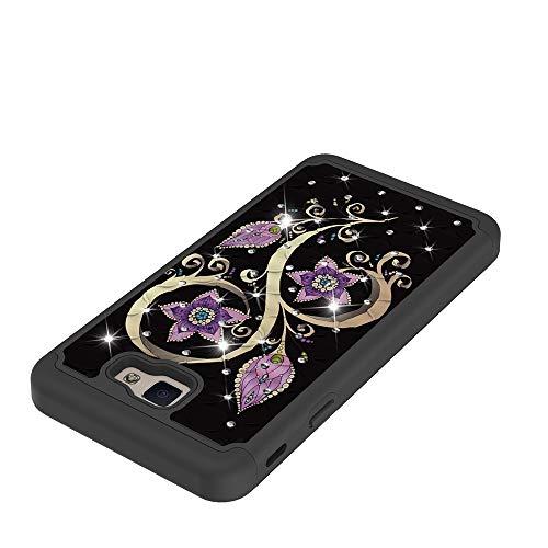 CASO WEISHAN Teléfono del modelo del búho Flores de la mariposa de Bling del brillo del diamante 2 en 1 doble capa de armadura Defender híbrido de servicio pesado a prueba de golpes cubierta protector