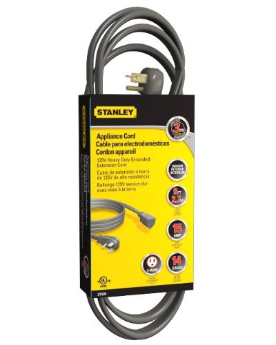 Stanley 31536 Grounded Heavy Duty Appliance Extension Cord, 9-Feet, Gray