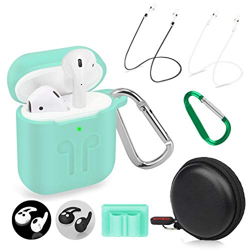Cuauco 2020 Newest Airpods Case for Airpods 2 &1 (Front LED Visible) with 2 Anti-Lost Strap/2 Pairs of Ear Hooks/2 Carabiner/1 Band Holder/1 Headphone Case for Apple Airpods 2 &1(9 Pack)(Mint Green)