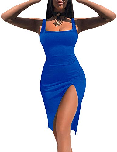 Women High Split Tank Dress Sexy Scoop Neck Sleeveless Club Bodycon Dress