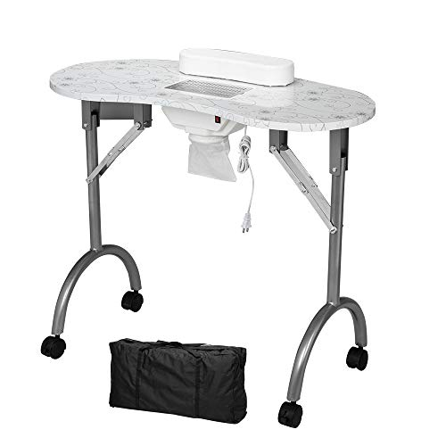 Mefeir Manicure Nail Table with Electric Dust Collector, Foldable MDF Laminated Home Nail Beauty Technician Desk, Spa Salon Workstation, Client Wrist Pad and Carrying Bag