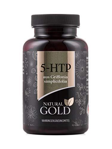 Natural Gold - 5-HTP - 180 Kapseln á 100mg reines 5 HTP aus Griffonia Extrakt - ohne Zusatzstoffe oder Magnesiumstearat