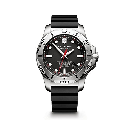 Victorinox Swiss Army Men's I.N.O.X. Stainless Steel Swiss-Quartz Diving Watch with Rubber Strap, Black, 22 (Model: 241733.1)