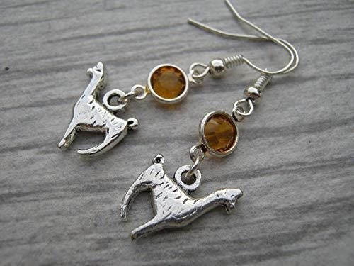 Llama Birthstone Earrings, Personalized Alpaca Earrings, Animal Earrings, Farm Country Earrings