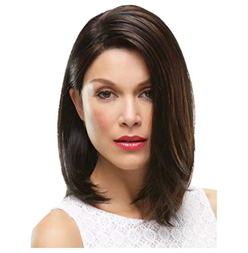 Fleurapance - Peluca de pelo humano para mujer, tamaño mediano, largo y recto, estilo bobo, color negro y marrón
