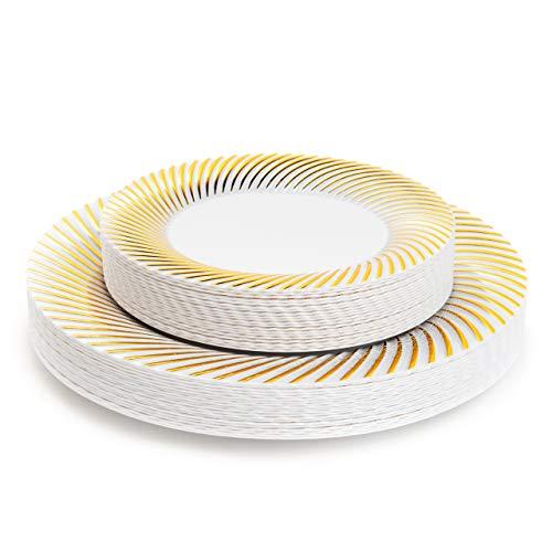 Matana 40 Platos de Plástico Duro Blanco con Borde Dorado - 2 Tamaños