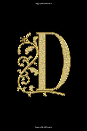 D: Letter D Initial Monogram Notebook - Pretty black & Gold Confetti Glitter Monogrammed Blank Lined Note Book, Writing Pad, Journal or Diary with ... ... D Initial Monogram Notebook - Pretty black
