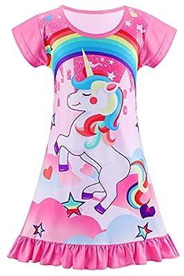 Hifot Camisón de Pijama Niña Manga Corta con Estampado de Unicornios para Niñas Pijamas de Unicornio de Princesa Ropa de Dormir