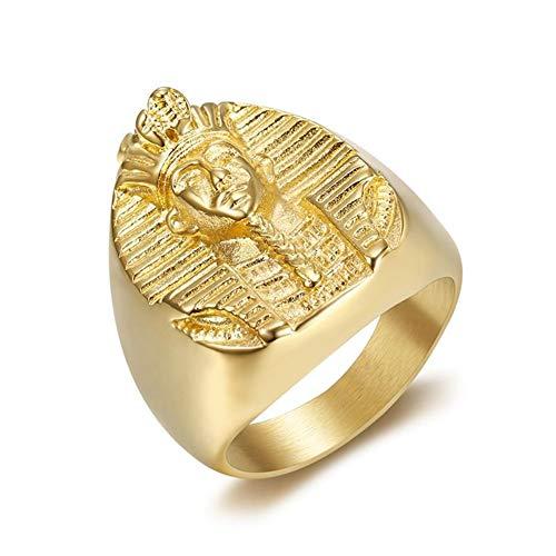 Boansi Moda Titanio Acero Antiguo Faraón Egipcio Anillo para Hombre Oro,Tamaño 27
