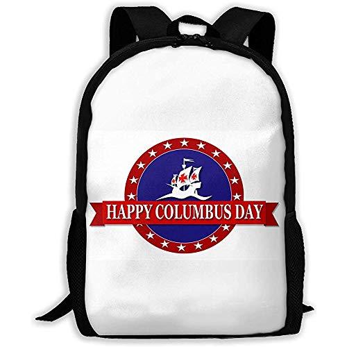 Lily-Shop Happy Columbus Day Print Mochila para Adultos Mochila de Viaje Mochilas Escolares Ligeras Mochila con Estilo Linda Mochila con Estampado Completo