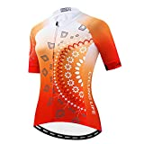 Weimostar Women's Cycling Jersey Short Sleeve Bike Shirts Top Ladies Bicycle Clothing MTB Cycle Jacket Reflective Orange Size XL