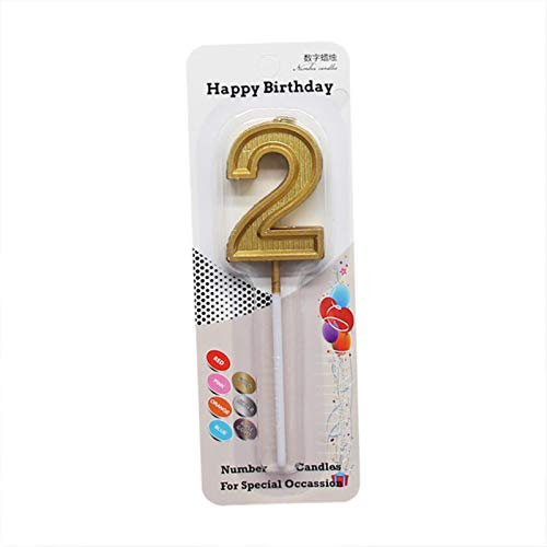 Number Candles,Glitter Gold Number 0-9 for Birthday Party Cake Candle Home Wedding Birthday Decoration,2
