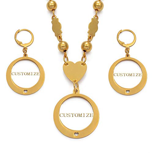 Nobrand Personalizar Conjuntos de Joyas con Nombre Pendientes de Collar para mamá Mujer Niña Personalizar Carta Regalo/Tiempo de producción 7-15 días