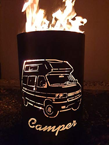 Tiko-Metalldesign Feuertonne/Feuerkorb mit Motiv Camper/Wohnmobil