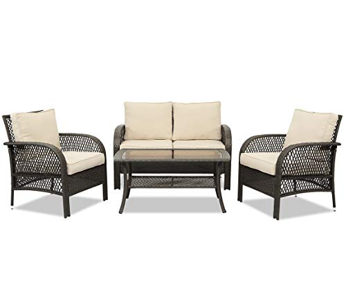 Wisteria Lane Outdoor Furniture Sets - 4 Piece Patio Conversation Set Wicker Sofa with Glass Table, Beige