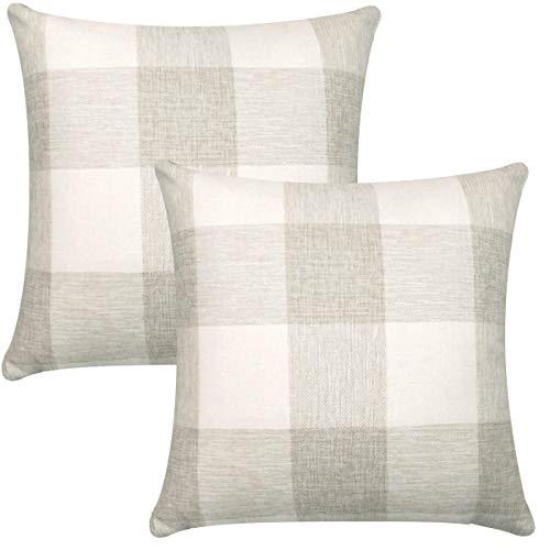 ORANIFUL Tartan Kissenbezüge 50x50 cm, Set von 2 Dekorativen Quadratischen Leinen Kissenbezug Dekorative für Sofa, Wohnzimmer, Couch, Schlafzimmer und Auto (Cremeweiß)