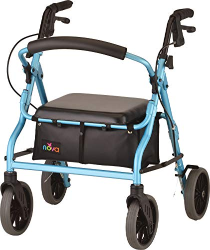 "NOVA Zoom Rollator Walker with 18"" Seat Height, Sky Blue"