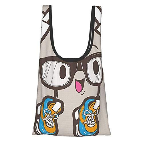 Carácter de la computadora del humor con gafas y zapatos de los deportes cómics divertidos niños diseño gráfico marrón chocolate reutilizable bolsas de comestibles, bolsa de compras ecológica