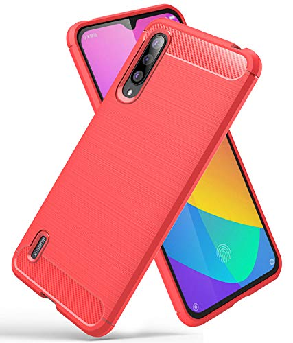 YEESOON Capa para Xiaomi Mi A3, capa de proteção de TPU ultra fina, macia, leve, design de fibra de carbono, capa traseira para Xiaomi Mi A3 (vermelha)