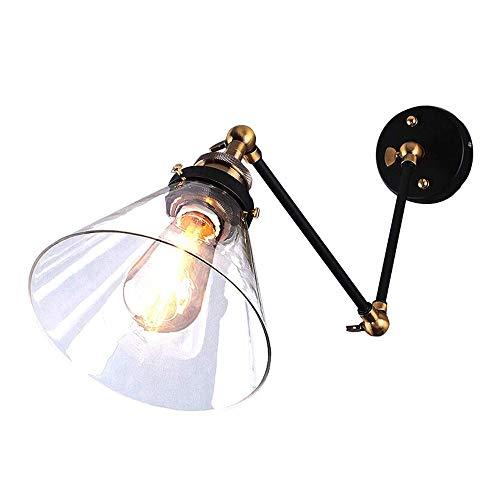 ZAKRLYB Botón ajustable de dos secciones Funnel de la lámpara de pared de la lámpara de vidrio de la lámpara de la noche de la lámpara de la cama del pasillo de la lámpara de pared del espejo de la lá
