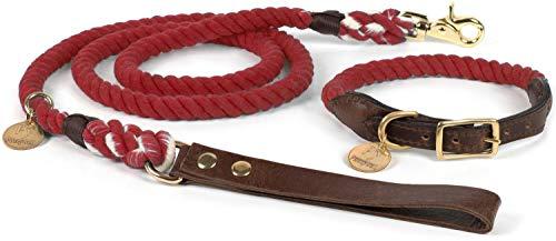 Puccybell Nautical hond kraag en riem (1.5m) set van gevlochten touw en leer HLS001