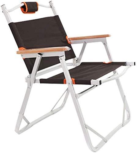 Lanrui Silla de Playa Plegable sillas de Camping portátil withbackrest Marco de la Bolsa de Almacenamiento de los apoyabrazos de Madera con Aluminio cómodo Duradero for la Playa Jardín Terraza Balcón
