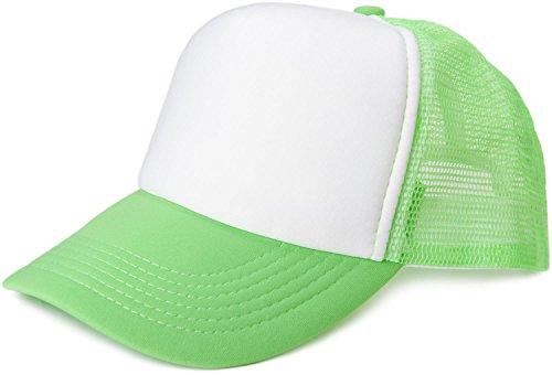 styleBREAKER Gorra de Malla de 5 Paneles, Gorra de Camionero, Gorra de béisbol, Ajustable, Unisex 04023007, Color:Blanco-Verde neón