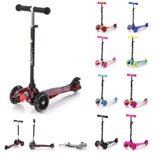 Lorelli Scooter para niños Mini Plegable Ajustable Ruedas de PU se encienden, Color:Rojo-Negro