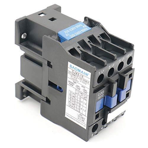 Baomain AC Contactor CJX2-1810 220V 50/60Hz 660V 18 Amp 3 Phase 3-Pole NO DIN rail