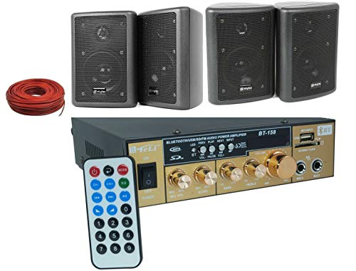 KIT AUDIO CON KARAOKE 100 WATT BLUETOOTH+USB+RADIO FM+TELECOMANDO+ 4 CASSE