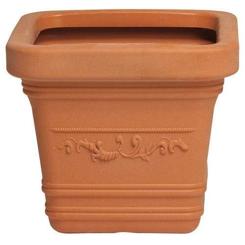 SATURNIA 8093435 Macetero Resina Cuadrado, Color Terracota, Resistente, Ideal Exterior, 40x40cm, 40x40 cm