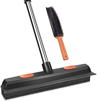 Conliwell Rubber Broom Pet Hair Removal Tool Carpet Rake Floor Brush with Squeegee Fur Portable Detailing Lint Remover Brush Soft Push Broom for Fluff Carpet Hardwood Floor Tile Window
