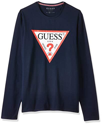 Guess Camisa de Manga Larga para Hombre en algodón Azul M01I72J1300-G720 XL