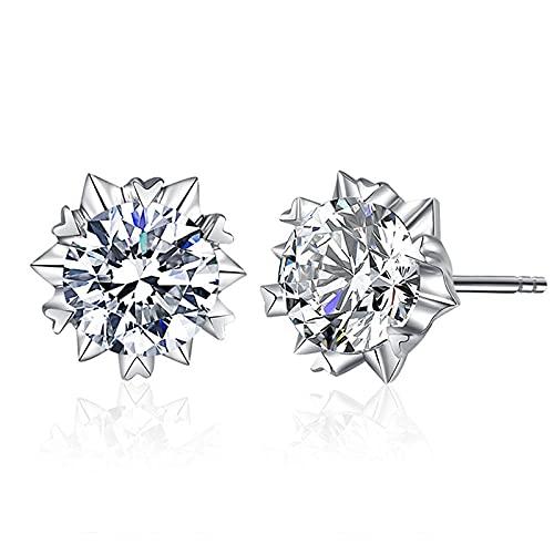 Pendientes de botón de plata esterlina para mujer joyería de moda pendiente de estrella de circonita brillante accesorios de boda para mujer niña