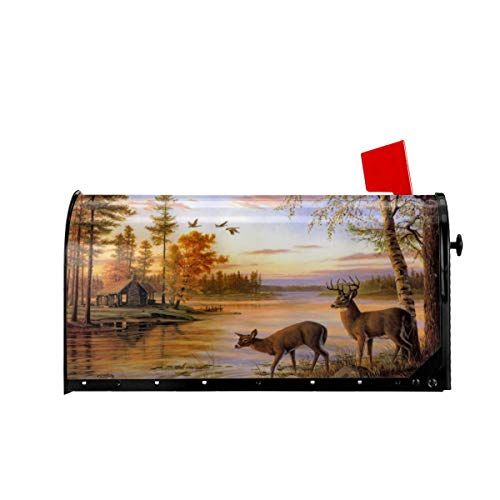 Foruidea Deer Safair in Stream River at Forest Sunset Mailbox Covers Magnetic Mailbox Wraps Post Letter Box Cover Standard Oversize 21 X 18 Mailwrap Garden Home Decor