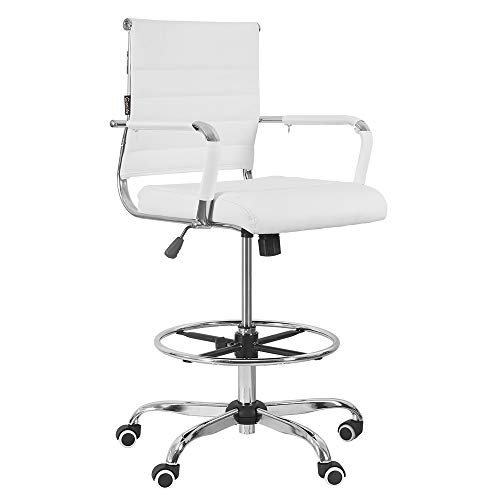 eclife 360° Office Chair Ergonomic Drafting Chair, Height Adjustable Mid-Back PU Leather Ribbed Leather Swivel, Footrest , Armrest Lumbar Support ,Executive Modern Conference Computer Chair (White)