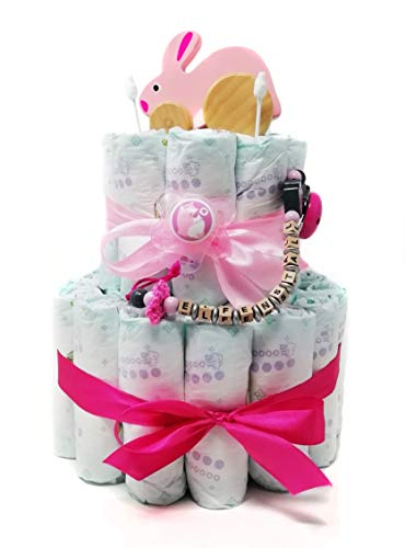 Elfenstall Windeltorte/Pamperstorte mit Spielzeug und Schnullerkette als tolles Geschenk/Geschenkset zur Geburt oder Taufe auf Wunsch mit Name des Babys (Mädchen)