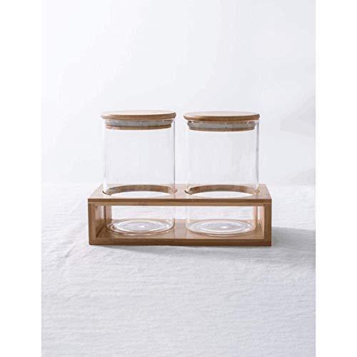 ZHANG Tarro Sellado de Vidrio Creativo Exquisito Estante de Latas de Bambú Almacenamiento de Tarro Sellado de Vidrio Recto de Alto Borosilicato