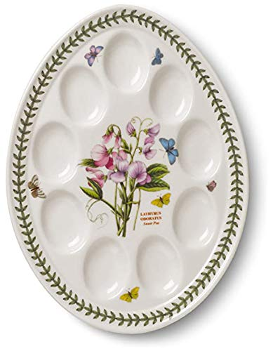 Portmeirion - Botanic Garden Sweet Pea Motif Devilled Egg Dish (12 Inches) - Holds 9 Deviled Eggs - Dishwasher Safe