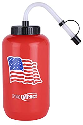 Pro Impact Boxing Hockey Lacrosse Water Bottle - Squeezable Plastic w/Long Straw - Ideal for Baseball Gym Yoga Sports Boxing Cycling Outdoors Football (35.5 Oz.) BPA Free (Red American Flag)