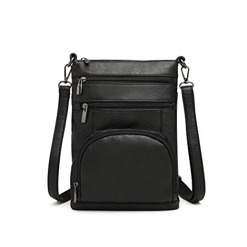 Kono Women Multi Pocket RFID Blocking Crossbody Bag Small Fashion PU Leather Messenger Travel Organizer Satchel Sling Shoulder Bags (Black)