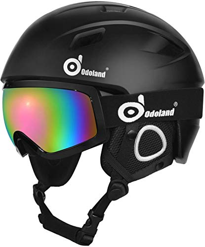 Odoland Snow Ski Helmet and Goggles Set, Sports Helmet and Protective Glasses - Shockproof/Windproof Protective Gear for Skiing, Snowboarding, Motorcycle Cycling, Snowmobile,Black,XL