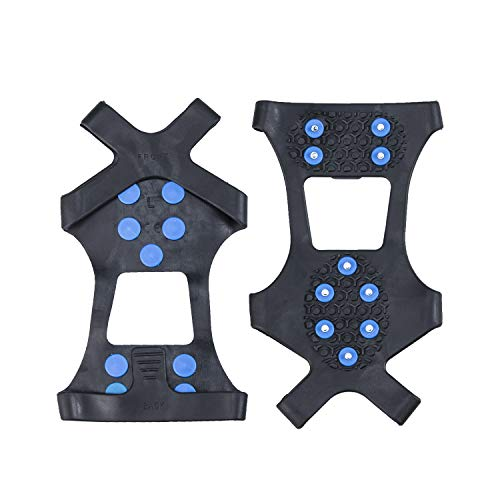willceal Ice Cleats Ice Grippers Traction Cleats Shoes and Boots Rubber Snow Shoe Spikes Crampons with 10 Steel Studs Cleats Prevent Outdoor Activities from Wrestling Blue Small
