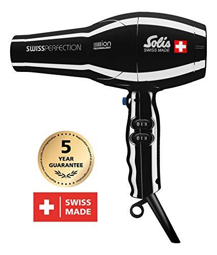 Solis Profi-Haarföhn, 3 Temperatur- und Gebläsestufen, Kaltluft-Taste, AC-Motor, 2300 Watt, Ionen-Technologie, Swiss Perfection (Typ 440), Violett + Diffusor (Schwarz)