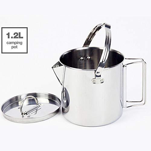 1.2L Draagbare Outdoor RVS Ketels Kook Water Hangende Pot Hot Soep Koffie Servies Voor Bergbeklimmen Camping Lichtgewicht Pot