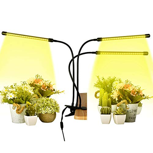 Plant Grow Lights Full Spectrum 30W LED Plants Sunlight Plant Lamp with 3 Heads and Adjustable Gooseneck Timer Function 3/6/12h Growing Lights for Indoor Seedlings Vegetables Flowers