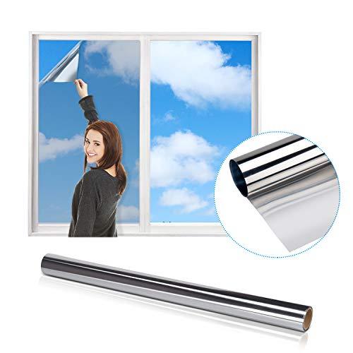 iTrunk Spiegelfolie, Reflektierende Fensterfolie Einweg-Spiegelfolie für Fenster Sichtschutz, Statische Haftfolie Wärmeschutzfolie Anti-UV-Fensterfolie für Büro und Zuhause (60 x 200cm, Silber)