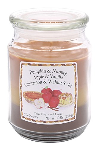 Candle-lite - Duftkerze im Glas, Pumpkin & Nutmeg, Apple & Vanilla, Cinnamon & Walnut Swirl  538g, Braun, 10 x 10 x 14.5 cm
