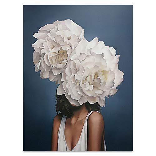 Blumen Federn Frau Abstrakte Leinwand Malerei Wandkunst Druck Poster Bild Dekorative Malerei Wohnzimmer Wohnkultur A1 60x90cm Kein Rahmen